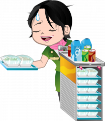 Server flot og velment med serveringsvogne